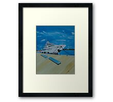 Boat by the Dock Framed Print