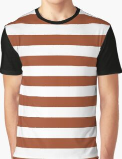 Potters Clay and White Large Horizontal Cabana Tent Stripe Graphic T-Shirt