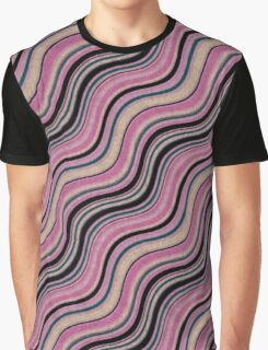 Cool Wavy Pink And Plumb Lines Pattern Graphic T-Shirt