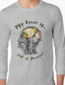 Brain Full Of Flowers,Human Anatomy,Vintage Illustration,Dictionary Art Long Sleeve T-Shirt
