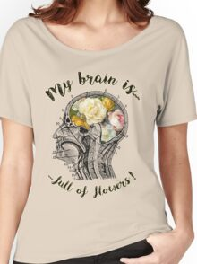 Brain Full Of Flowers,Human Anatomy,Vintage Illustration,Dictionary Art Women's Relaxed Fit T-Shirt