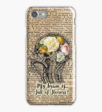 Brain Full Of Flowers Dictionary Art iPhone Case/Skin