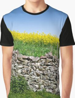 Scottish Countryside Dry Stone Wall Graphic T-Shirt