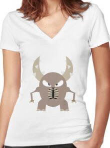 #127 Pinsir - Flat Colored Bug Type Pokemon Women's Fitted V-Neck T-Shirt