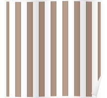 Warm Taupe and White Large Vertical Cabana Tent Stripe Poster