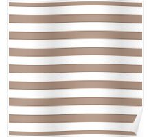 Warm Taupe and White Large Horizontal Cabana Tent Stripe Poster