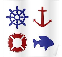 nautical pattern Poster