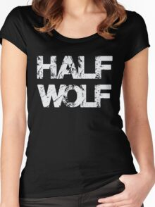 Half Wolf T Shirt Funny Humor Women's Fitted Scoop T-Shirt