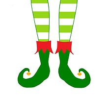 Red and Green Funny Christmas Elf Feet by BeachBumFamily