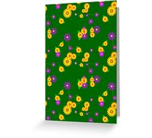 Viney Floral on Green Greeting Card