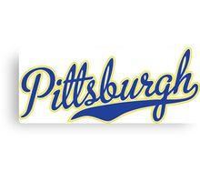Pittsburgh Script Blue VINTAGE Canvas Print