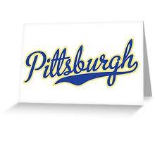 Pittsburgh Script Blue VINTAGE Greeting Card