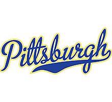 Pittsburgh Script Blue VINTAGE Photographic Print