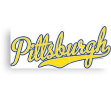 Pittsburgh Script Blue  Canvas Print