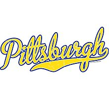 Pittsburgh Script Blue  Photographic Print