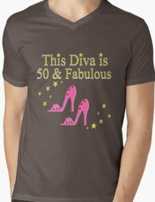 50 AND FABULOUS PINK SHOE LOVER DESIGN Mens V-Neck T-Shirt