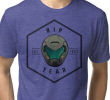 Doom Guy Helmet - RIP TEAR Tri-blend T-Shirt