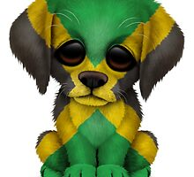 Cute Patriotic Jamaican Flag Puppy Dog by Jeff Bartels