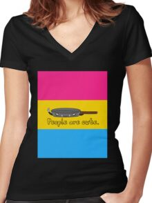 Pansexual Cartoon Tee (LGBTQ+) Women's Fitted V-Neck T-Shirt