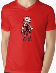 Red (Trainer) - Pokemon Gold & Silver Mens V-Neck T-Shirt