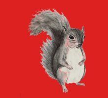 black and white squirrel drawing One Piece - Short Sleeve