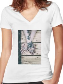 Baby Blue Women's Fitted V-Neck T-Shirt