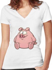 PIGGY PIGGY PIGGY Women's Fitted V-Neck T-Shirt