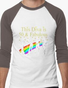 AWESOME 50 YEAR OLD DIVA RAINBOW DESIGN Men's Baseball ¾ T-Shirt