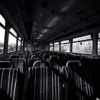 Empty Train Carriage - Mono by Glen Allen