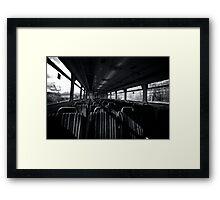 Empty Train Carriage - Mono Framed Print