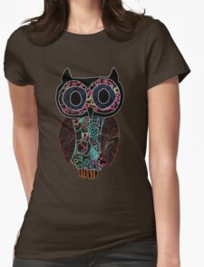 Glowing Owl - black background Womens Fitted T-Shirt