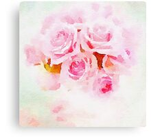 Water color painting,pink roses Canvas Print