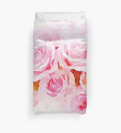 Water color painting,pink roses Duvet Cover