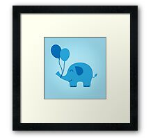 Sweet Funny Baby Elephant with Balloons Framed Print
