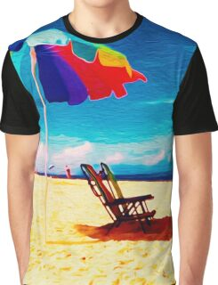 Beach Umbrella on the Sand Graphic T-Shirt