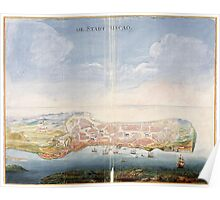 Vintage Pictorial Map of Macau China (1665) Poster