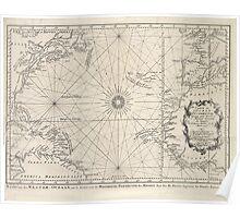Vintage Map of The Atlantic Ocean (1746) Poster