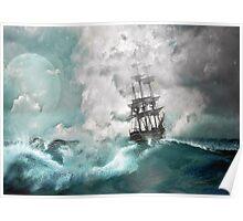 Sailing into a Storm Poster