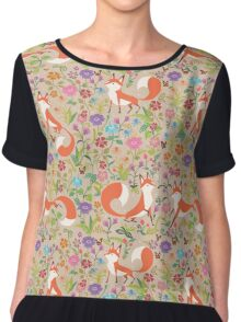 Flower Foxes Chiffon Top