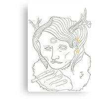 Smoking Antlers (No Color) Canvas Print