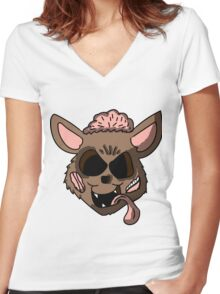 Zombie Chihuahua Head Women's Fitted V-Neck T-Shirt