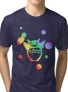 Totoro's Rainy Day (Rainbow) Tri-blend T-Shirt