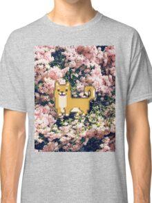 Shiba Inu Flower Pixel  Classic T-Shirt