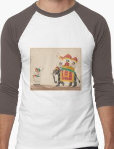 Decorated Indian Elephant with a Canopied Howdah Men's Baseball ¾ T-Shirt