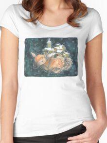 Sleepy Baby Deer Women's Fitted Scoop T-Shirt
