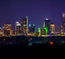 Austin, Texas Skyline on a Mid July Night  by Roschetzky