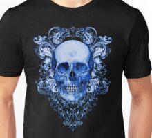 Blue Skull on black Unisex T-Shirt