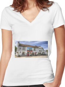 The Bull Pub Theydon Bois Panorama Women's Fitted V-Neck T-Shirt