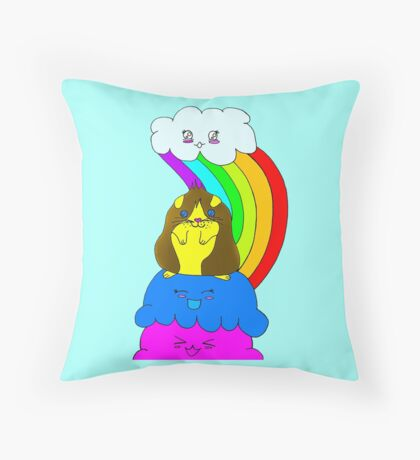 Guinea Pig Happy Day Throw Pillow