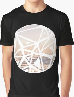 Geometric lino cut printed pattern in combination with photography, nature inspired Graphic T-Shirt